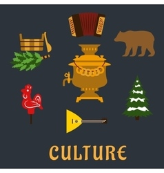 Russian culture flat icons set vector