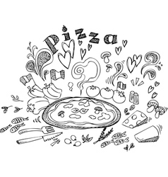 Digital of pizza and ingredients vector