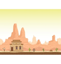 Wild old west canyon background with drug store vector