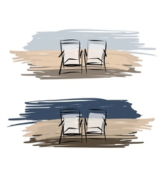 Two deck chairs on the beach sketch for your vector