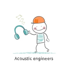 Acoustic engineer holding headphones vector
