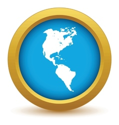 Gold continent america icon vector