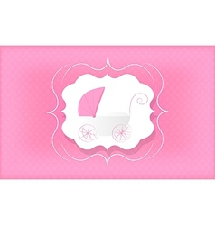 Baby girl pink stroller for newborn vector