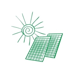 Doodle solar panels vector