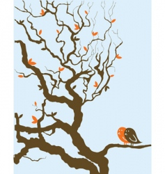 Tree with birds vector
