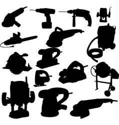 Collection of power tool silhouette vector