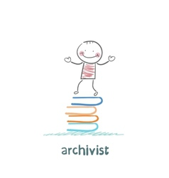 Archivist stands on a pile of books vector
