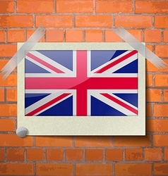 Flags united kingdom scotch taped to a red brick vector