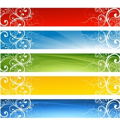 Abstract website floral banners vector