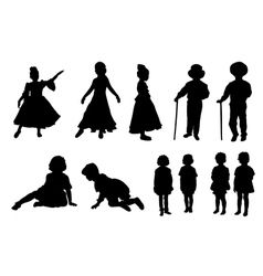 Silhouettes of kids vector