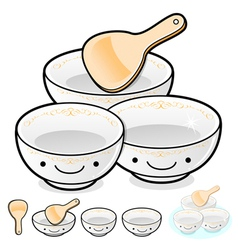 Diverse styles of rice bowl and soup bowl sets vector