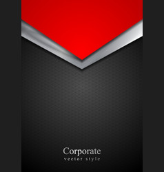 Dark silver and red tech arrows design vector