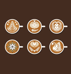 Set of latte art white cup vector