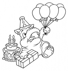 Hippo and balloons vector