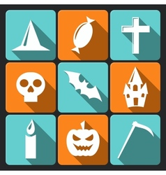 Halloween flat icons with long shadow set 3 vector