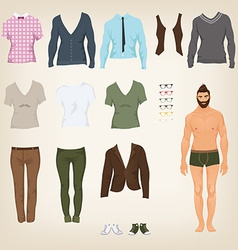 Male hipster dress up paper doll with an vector