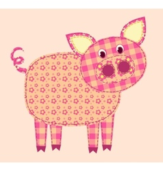 Stitched pig vector
