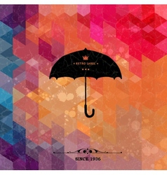 Retro umbrella on colorful geometric background vector