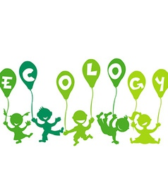 Ecology concept with kids and balloons vector