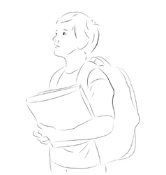 Sketchy boy with books vector