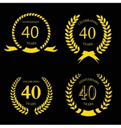 Forty years anniversary laurel gold wreath set vector
