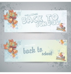 Set with two horizontal banners with school books vector