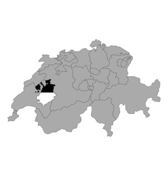 Map of switzerland with flag of fribourg vector