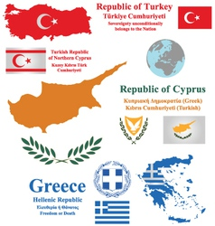 Cyprus turkey and greece vector