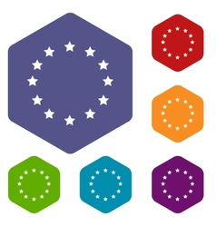 European union rhombus icons vector