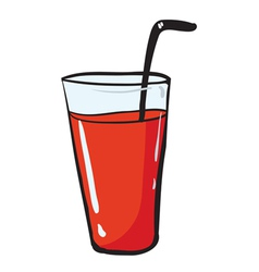 A glass and a straw vector