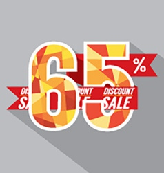 Flat design discount 65 percent off vector