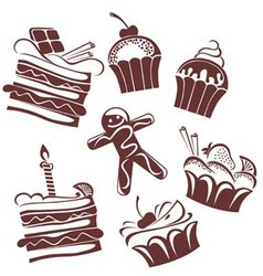 Funny cakes collection vector