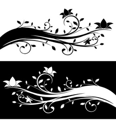 Floral decoration black and white variations vector