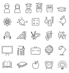 Education line icons set vector