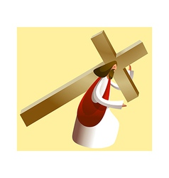 Side view of jesus christ holding cross vector