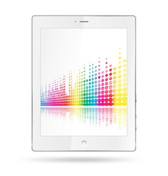 Tablet pc with equalizer colorful lines vector
