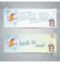 Set with two horizontal banners with school vector