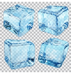 Transparent ice cubes in blue colors vector