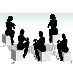 Woman silhouette with hand gesture reminding time vector