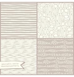 Hand drawn geometric seamless patterns set vector