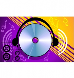 Compact disk with headphone vector