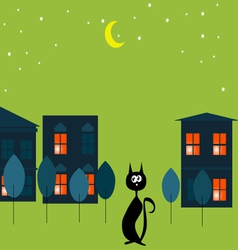 Cat in the city vector
