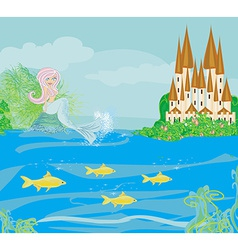 A beautiful mermaidcastle and fish vector