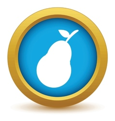 Gold pear icon vector