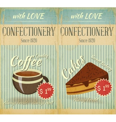 Vintage two cards cafe confectionery dessert menu vector