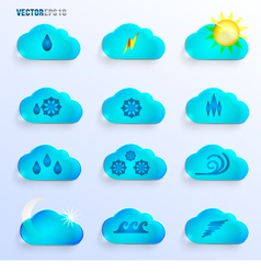 Light blue clouds with weather signs vector