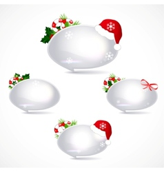 Speech bubbles with christmas decoration vector