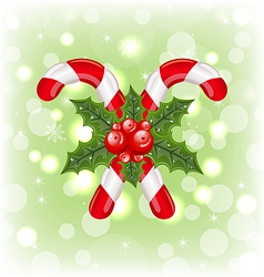 Christmas sweet canes with holly berry vector