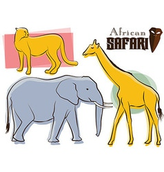 Safari animals retro style vector