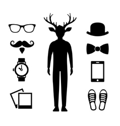 Hipster icons set with deer man silhouette vector